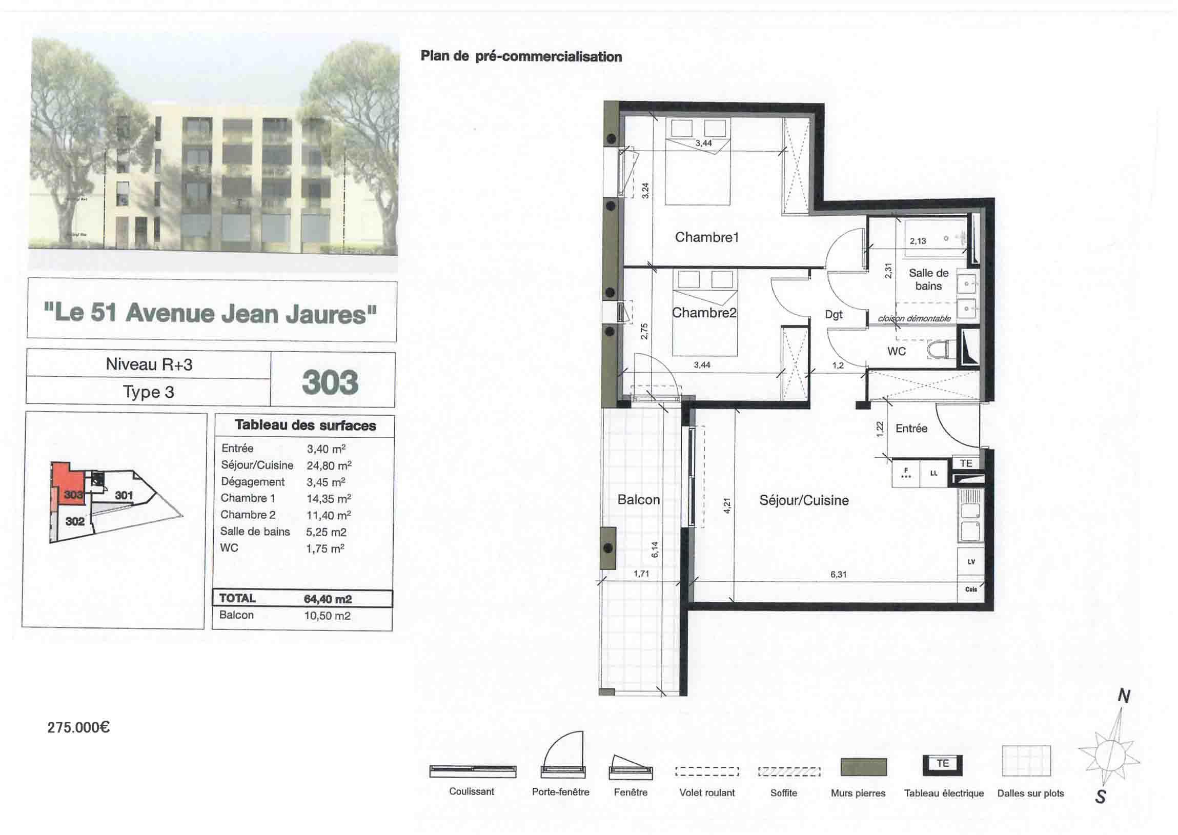 303 NA 64m² R+3 270000€